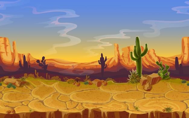 Nahtlose wüstenlandschaft. horizontaler karikaturspiel-fahnenhintergrund