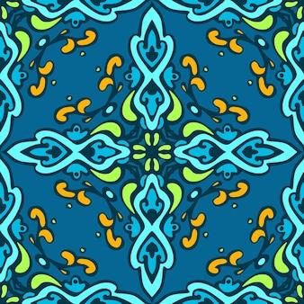 Nahtloser abstrakter mit ziegeln gedeckter mustervektor. geometrische klassische damastverzierung