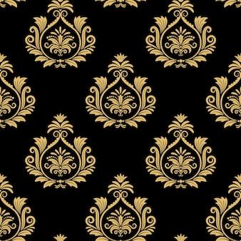 Nahtloser barocker hintergrund, goldenes damastweinlese-muster auf schwarz