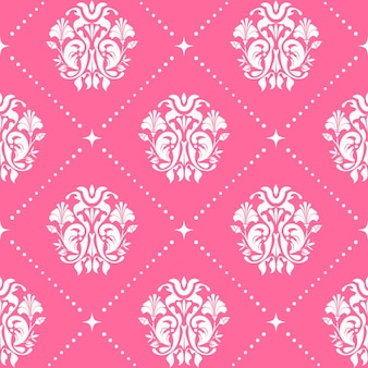 Nahtloser barockstil des weinlesemusters in der rosa farbe.