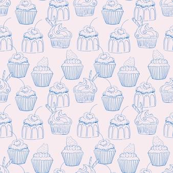 Nahtloser blauer und beige hintergrund von süßen cupcakes mit sahne und beeren