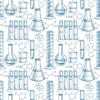 Nahtloser blauer und weißer hintergrund mit chemischer ausrüstung und formeln. handgezeichnete illustration
