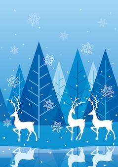 Nahtloser blauer winterwaldhintergrund mit textraum. horizontal wiederholbar.