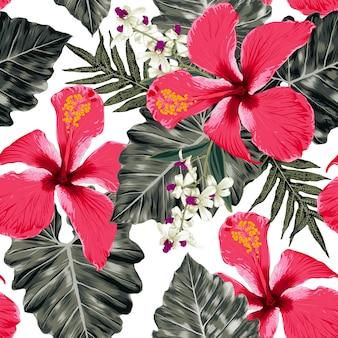 Nahtloser blumenmuster hibiskus und orchideenblumen monstera abstrakter hintergrund. aquarell handzeichnung.
