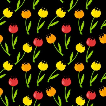 Nahtloser blumenmusterhintergrund mit tulpen-vektor-illustrati