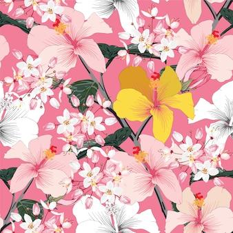 Nahtloser blumenmusterrosa-pastellfarbe hibiscus blüht auf rosa abstraktem pastellhintergrund
