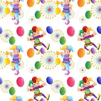 Nahtloser clown und ballons