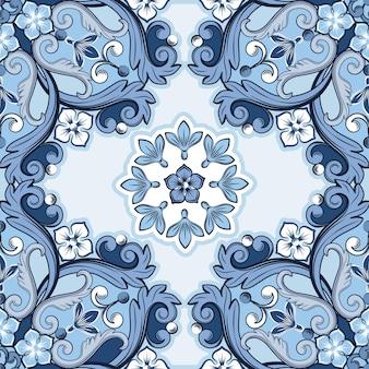 Nahtloser dekorativer hintergrund. blau gefärbtes ethnisches rundes ziermandala. trendiges muster.