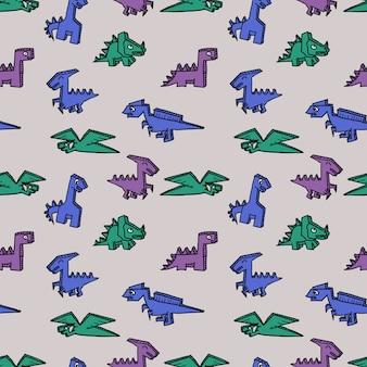 Nahtloser dinosaurierphantasie-musterhintergrund.