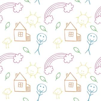 Nahtloser doodle-hintergrund für lustige kinder mit illustrationen für kinder von haus, person, zweigen, regenbogen, sonne. vektorillustration eines musters. textur für textilien, kleidung, verpackungspapier, geschenk