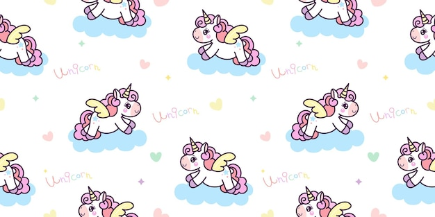 Nahtloser einhorn-pegasus-cartoon mit am himmel kawaii tier