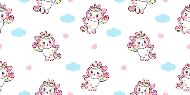 Nahtloser einhorn-pony-cartoon mit herz- und wolken-kawaii-tieren