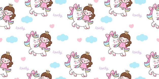 Nahtloser einhornkarikatur mit niedlichem prinzessin reitet pony auf himmel kawaii tier