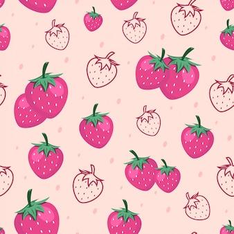 Nahtloser erdbeerfrucht-muster-hintergrund