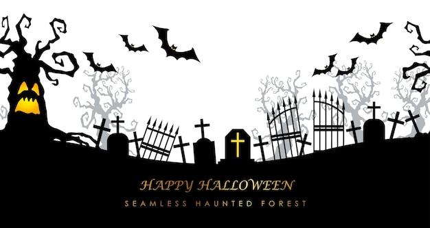 Nahtloser friedhof des glücklichen halloween mit textraum