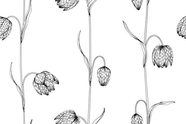 Nahtloser fritillaryblumen-musterhintergrund.