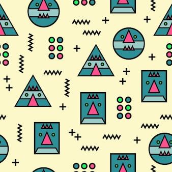 Nahtloser geometrischer abstrakter sonderbarer gesichtsmusterhintergrund memphis