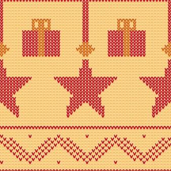 Nahtloser gestrickter musterhintergrund mit hängenden sternen und geschenkboxen.