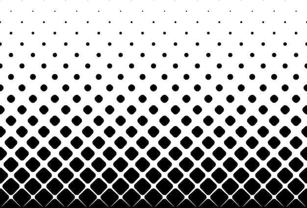Nahtloser halbton-vektor-hintergrundgefüllt mit schwarzen abgerundeten quadraten mitte verblassen