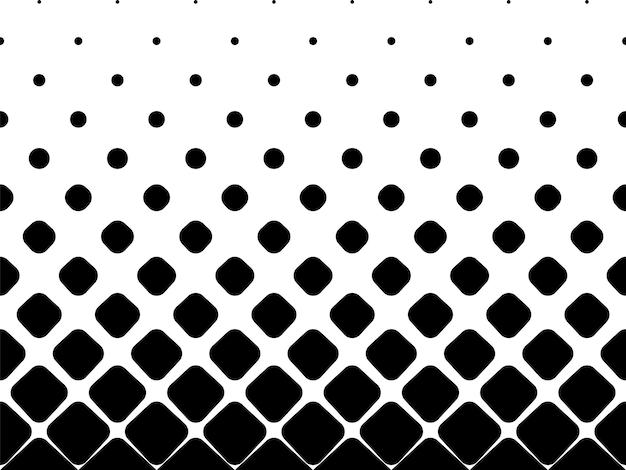 Nahtloser halbtonvektorhintergrund. gefüllt mit schwarzen abgerundeten quadraten. mitte verblassen. 20 figuren in der höhe.