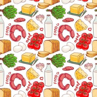 Nahtloser handgezeichneter hintergrund mit verschiedenen nahrungsmitteln