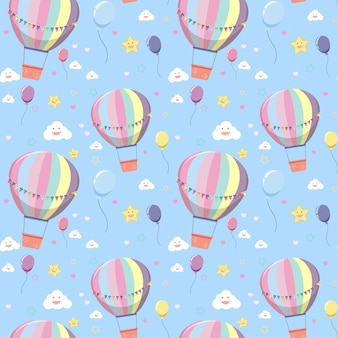 Nahtloser heißluftballon mit wolken- und sternmuster auf hellblauem hintergrund