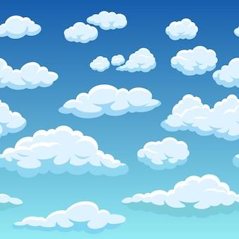 Nahtloser himmel mit weißen wolken hintergrundtextur