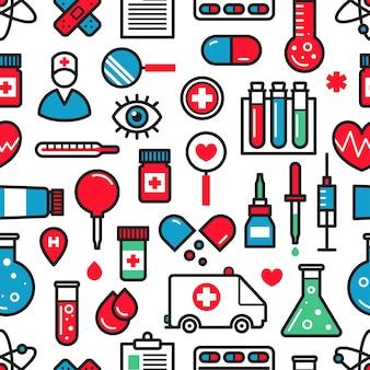 Nahtloser hintergrund der medizinischen ikonen.
