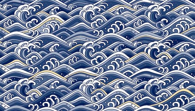 Nahtloser hintergrund der orientalischen welle. strichzeichnungen farbillustration. blauton und helles gold.