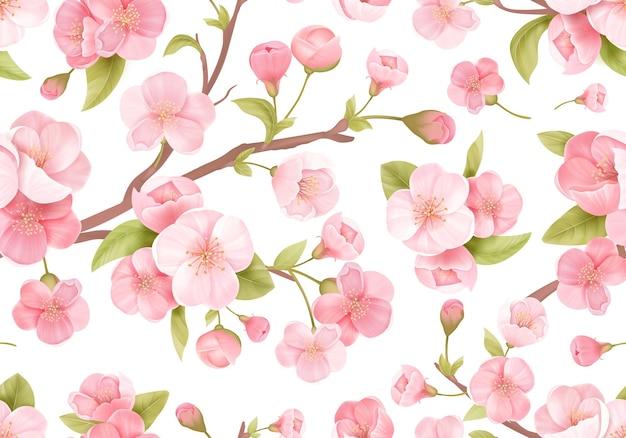 Nahtloser hintergrund der realistischen rosa sakura-blüte. japanische blühende kirsche exotische textur. frühlingsblumen, blättermuster für hochzeitshintergrund, textil, stoff