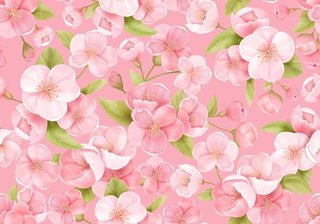 Nahtloser hintergrund der rosa sakura-blüte oder der japanischen blühenden kirsche. frühlingsblumen, blättermuster für hochzeitshintergrund, textil, stoff, exotische textur