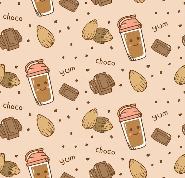 Nahtloser hintergrund der schokolade in der kawaii art