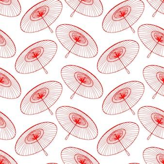 Nahtloser hintergrund der skizze schöne rote japanische regenschirme. handgezeichnete illustration