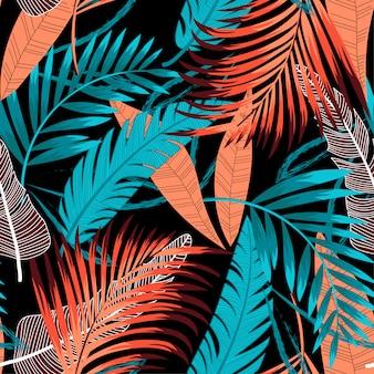 Nahtloser hintergrund der sommertendenz mit hellen tropischen blättern und anlagen