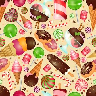 Nahtloser hintergrund der süßigkeit und der süßigkeiten für einladungen zu weihnachten und zum geburtstag
