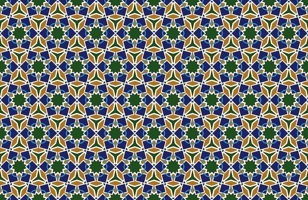 Nahtloser hintergrund des arabischen musters im geometrischen muslimischen verzierungshintergrundvektor der islamischen art