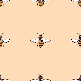 Nahtloser hintergrund des bienenvektors in der beige