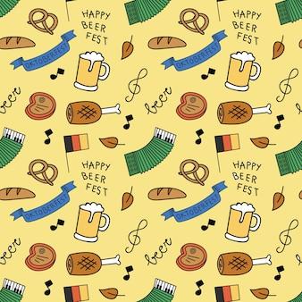 Nahtloser hintergrund des bierfestival-gekritzels