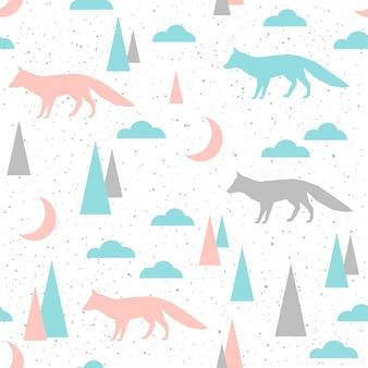 Nahtloser hintergrund des fuchses. grauer, blauer und rosa fuchs. abstraktes nahtloses muster für karte, buch, banner, tagebuchcover, t-shirt, album, textilgewebe, kleidungsstück usw. naure und tierthema.