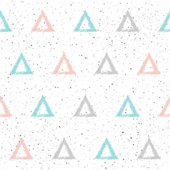 Nahtloser hintergrund des gekritzeldreiecks. graues, blaues und rosa dreieck. abstraktes dreieck für karte, einladung, tagebuch, album, skizzenbuch, sammelalbum, urlaubspapier, textilgewebe, kleidungsstück usw.