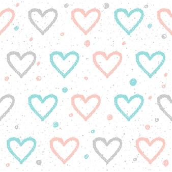 Nahtloser hintergrund des gekritzelherzens. abstraktes kindliches blaues, weißes und rosa herzmuster für design-t-shirt, hochzeitskarte, brauteinladung, valentinstagsplakat, broschüren, album, sammelalbum usw.