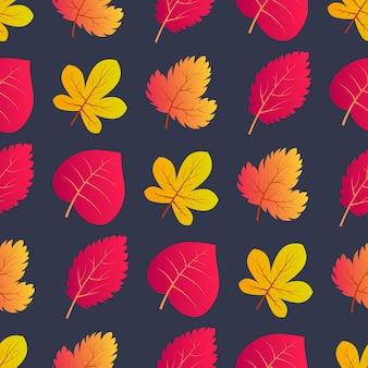 Nahtloser hintergrund des herbstes mit bunten ahornblättern auch im corel abgehobenen betrag. design für herbstplakate, geschenkpapiere und weihnachtsdekorationen. vektor-illustration