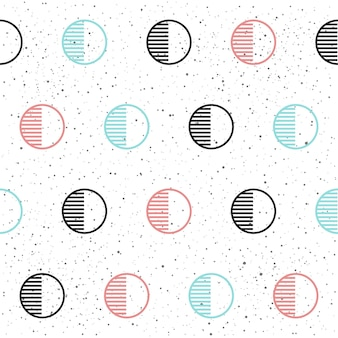 Nahtloser hintergrund des kreises. schwarz, blau und rosa. abstraktes nahtloses muster für karte, einladung, poster, banner, plakat, tagebuch, album, skizzenbuch, menü usw. memphis-stil. 80-90er modethema.