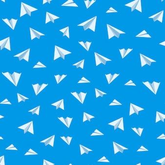 Nahtloser hintergrund des origamipapierflugzeug-vektors