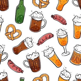 Nahtloser hintergrund des verschiedenen bieres. handgezeichnete illustrationen