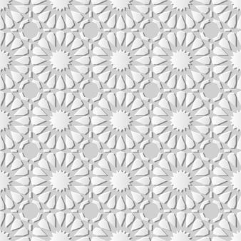 Nahtloser hintergrund des weißen musterkreuz-kunstmusters der islamischen geometrie 3d, weißes dekorationsmuster.