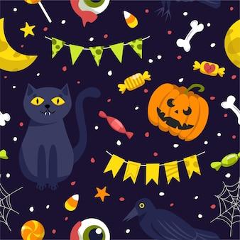 Nahtloser hintergrund für halloween. abbildung im cartoon-stil.