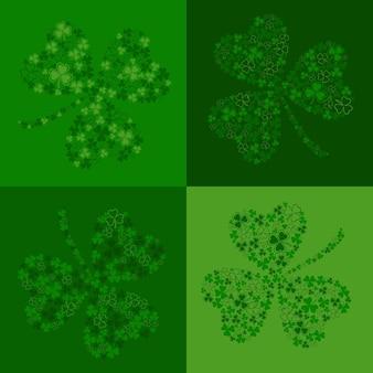 Nahtloser hintergrund für st. patricks day mit einem grünen schönen klee, der aus kleinen kleeblättern besteht