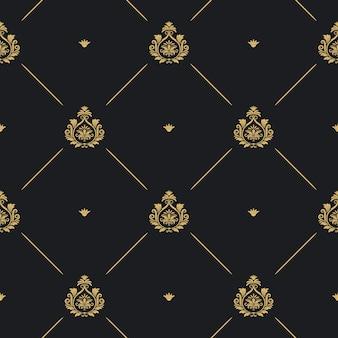 Nahtloser hintergrund, linie und goldenes element des königlichen hochzeitsmusters auf schwarz, vektorillustration