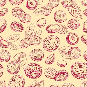 Nahtloser hintergrund mit anderen nüssen. handgezeichnete illustration